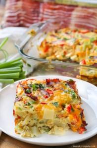 Cheesy Bacon, Potato & Egg Casserole by Swanky Recipes