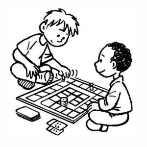 dessin enfants jouant