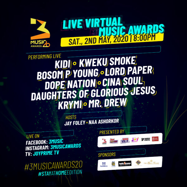 KiDi, DopeNation, Daughters of Glorious Jesus, Others for 3Music Awards