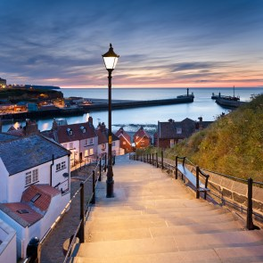 The 199 steps that lead from the old town of whitby up to St marys church and the abbey. Whitby, North Yorkshire.