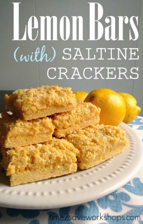 lemon bars with saltine crackers