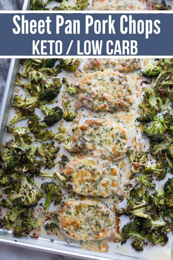 baked pork chops and broccoli on a sheet pan for a keto dinner