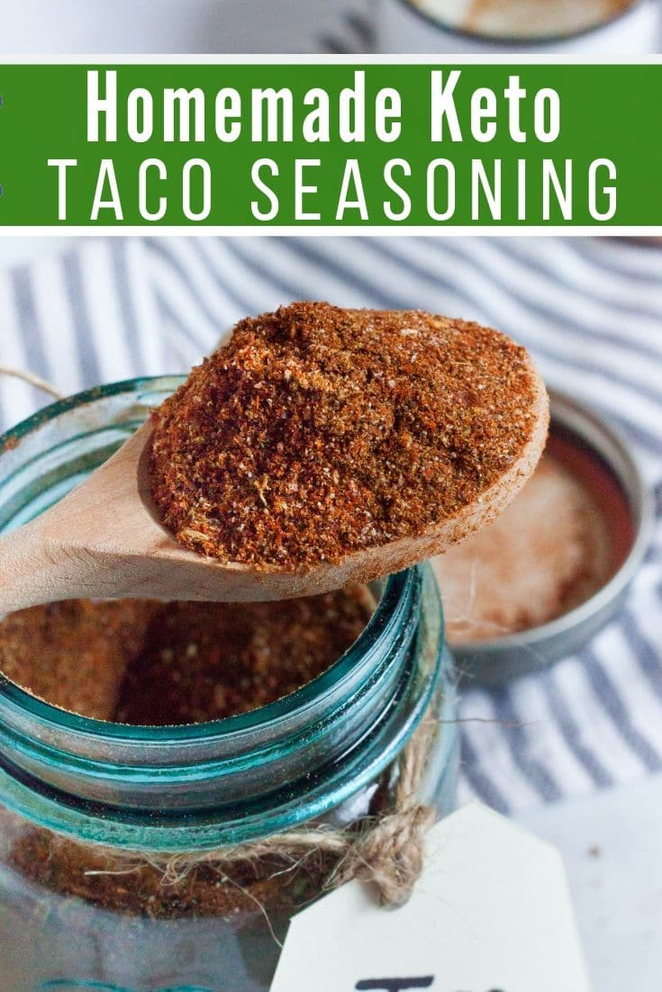 homemade keto taco seasoning in a mason jar