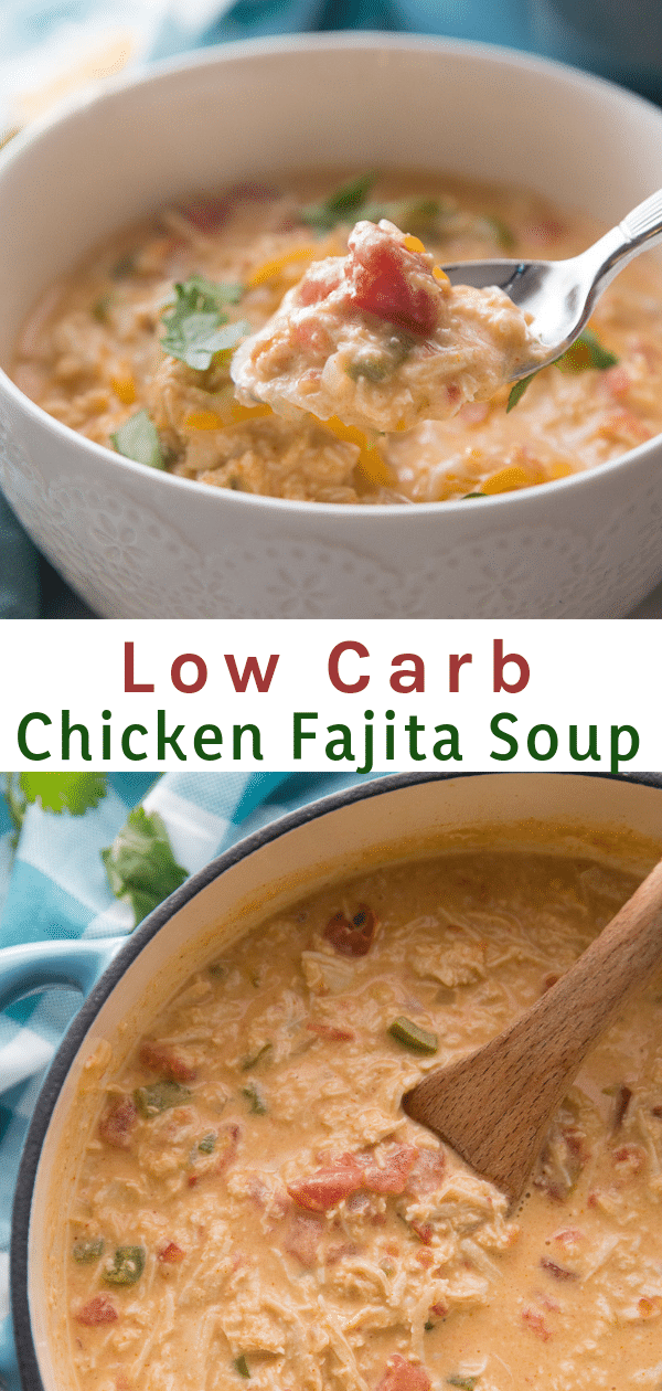 This Low Carb Chicken Fajita Soup is delicious, full of flavor, and extremely filling. #keto #lowcarb
