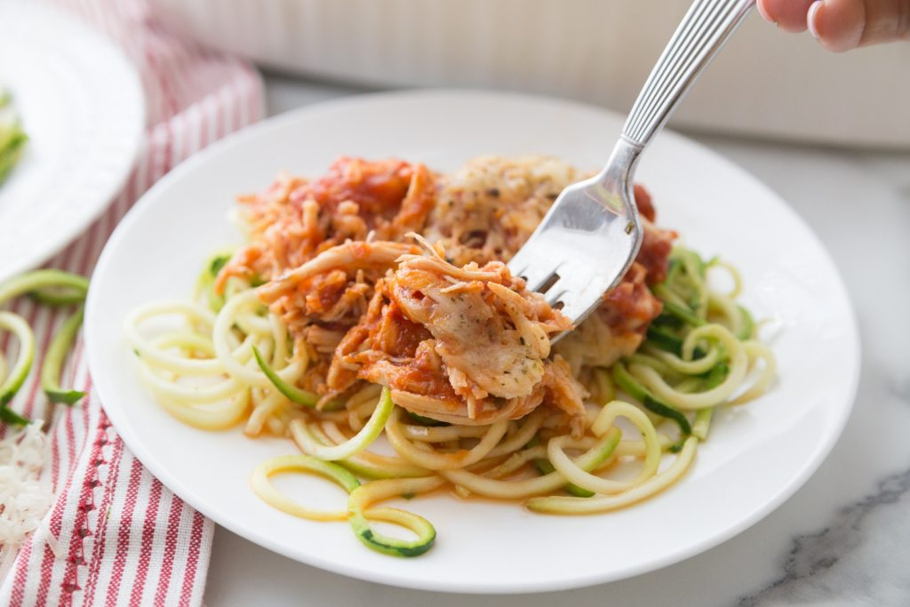 chicken parm over zucchini noodles.
