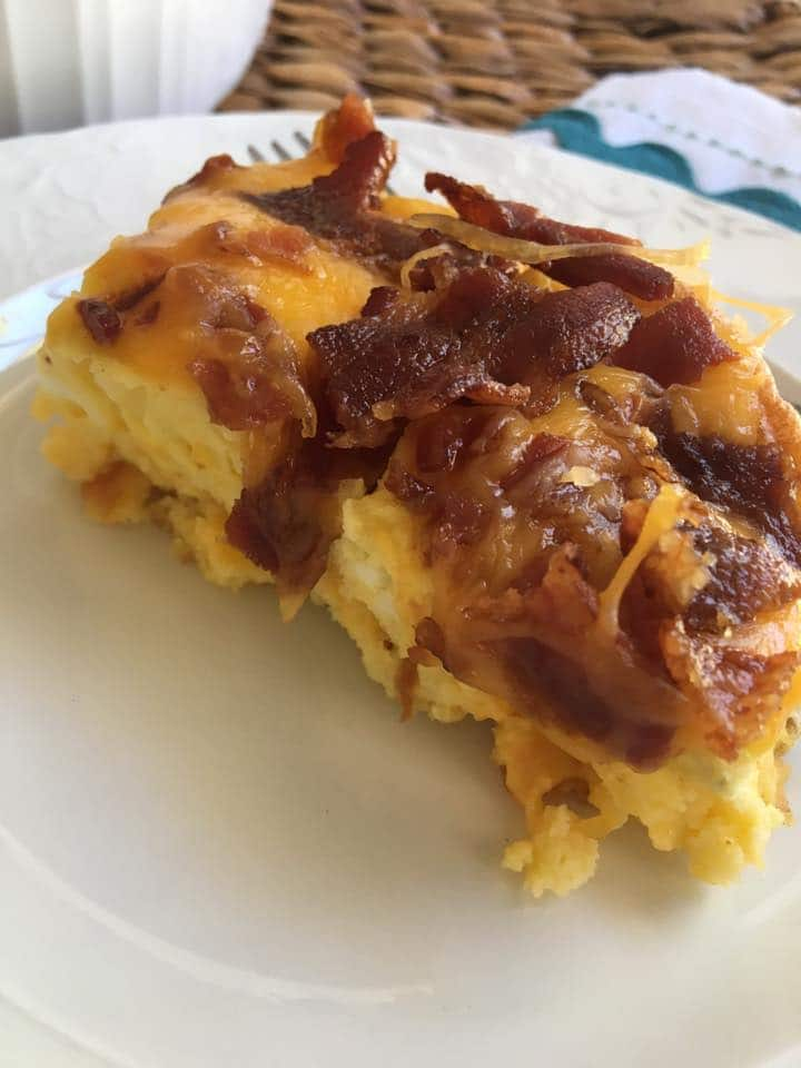 Make our Low Carb Breakfast Cheesy Egg Bacon Casserole as a make ahead option for your morning meal! Delicious, easy, low carb, and keto-friendly breakfast!