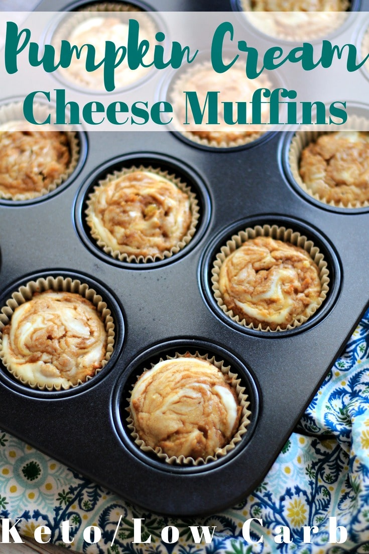 These Keto Pumpkin Muffins with a cream cheese swirl and easy to make. You'll find them moist without being eggy and full of pumpkin deliciousness.