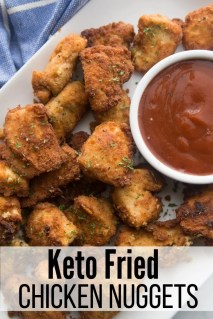 Keto Fried Chicken Nuggets with sauce in a white dish