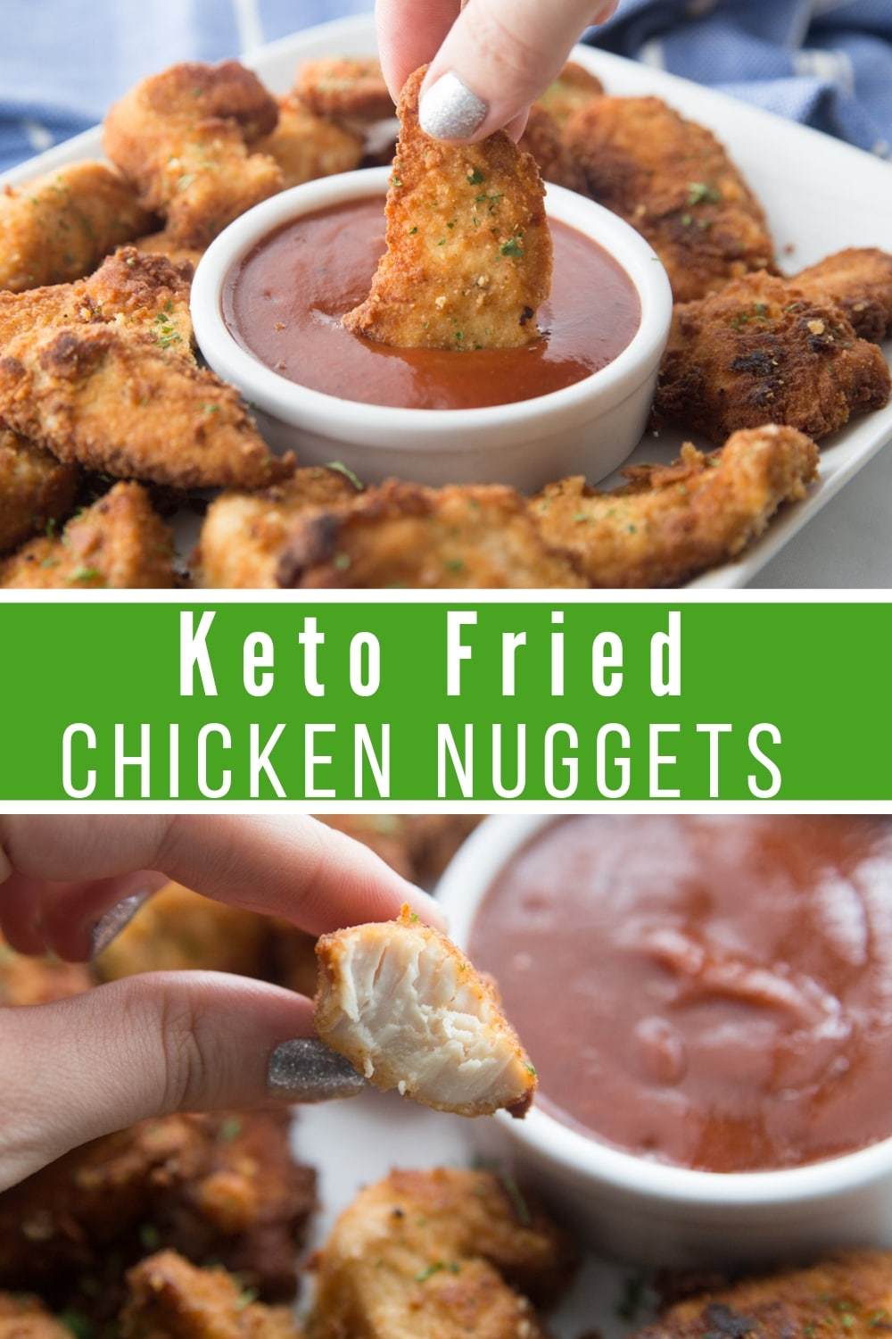 keto nuggets with a bite taken out being dipped into bbq sauce