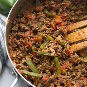 ground beef in a skillet with taco seasoning and ro-tel