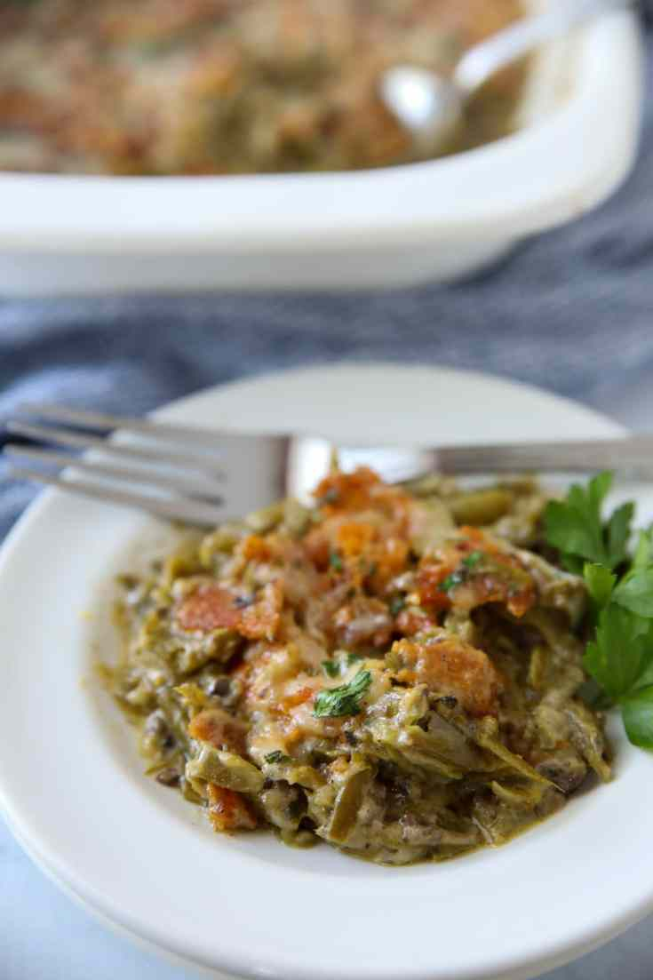 keto green bean casserole plated