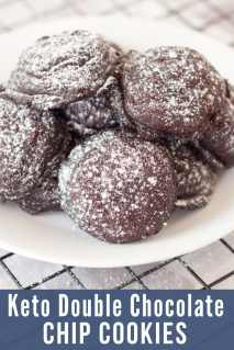 white plate of double chocolate chip keto cookies