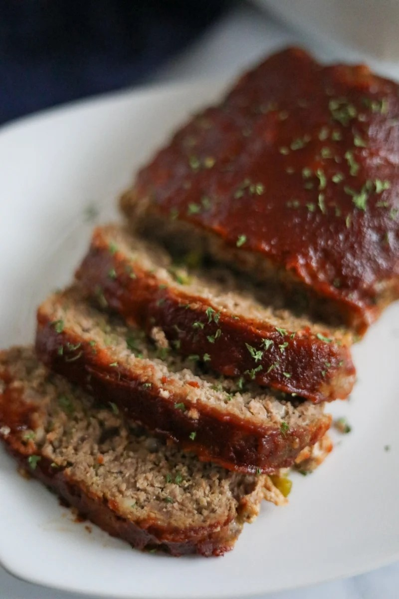 keto meatloaf plated and sliced