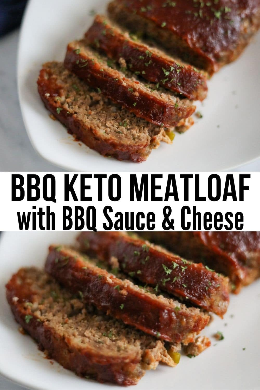 collage picture of low carb meatloaf recipe sliced on a white plate