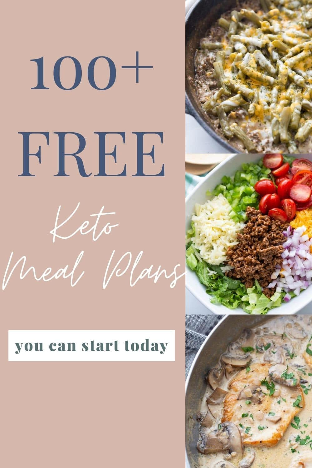 Free Keto Meal Plan graphic collage image