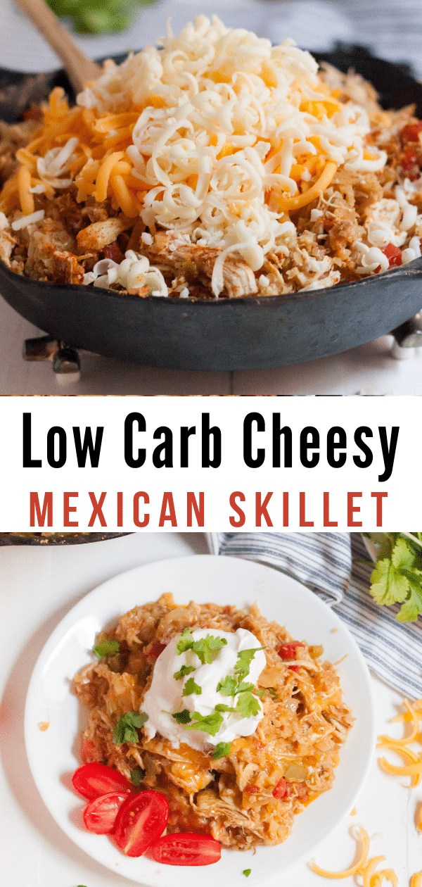Make our Keto Cheesy Mexican Skillet Chicken as a great family-friendly low carb recipe that comes together in minutes. It's so easy, delicious, and kid-friendly! #keto #lowcarb