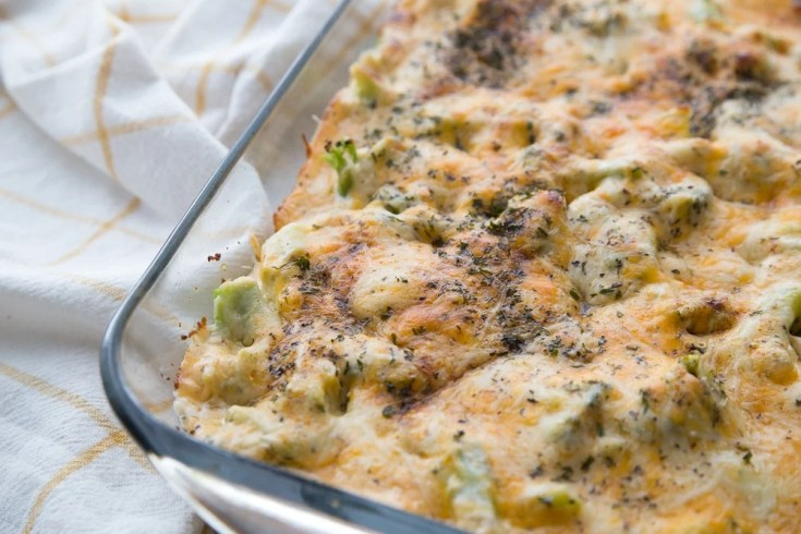 Low Carb Chicken Casserole in a baking dish out of the oven