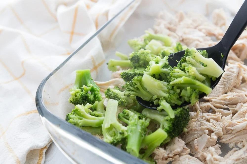 broccoli in a casserole dish