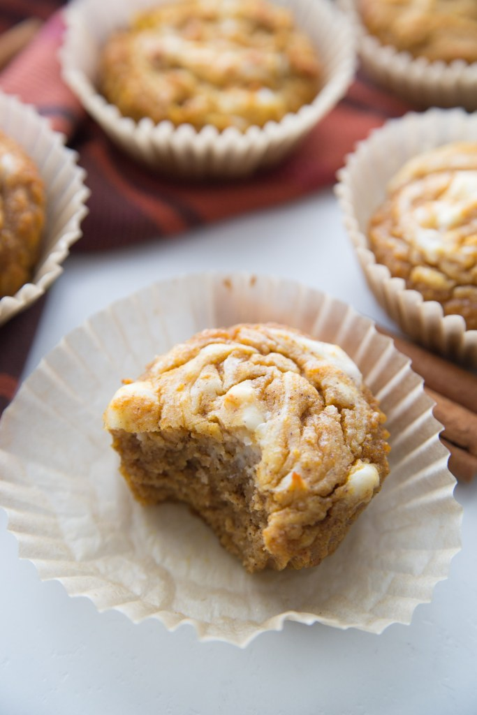 Keto Pumpkin Muffin with a keto swirl