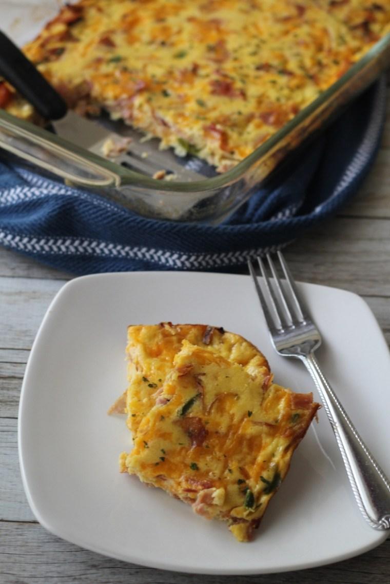 Piece of baked keto breakfast casserole