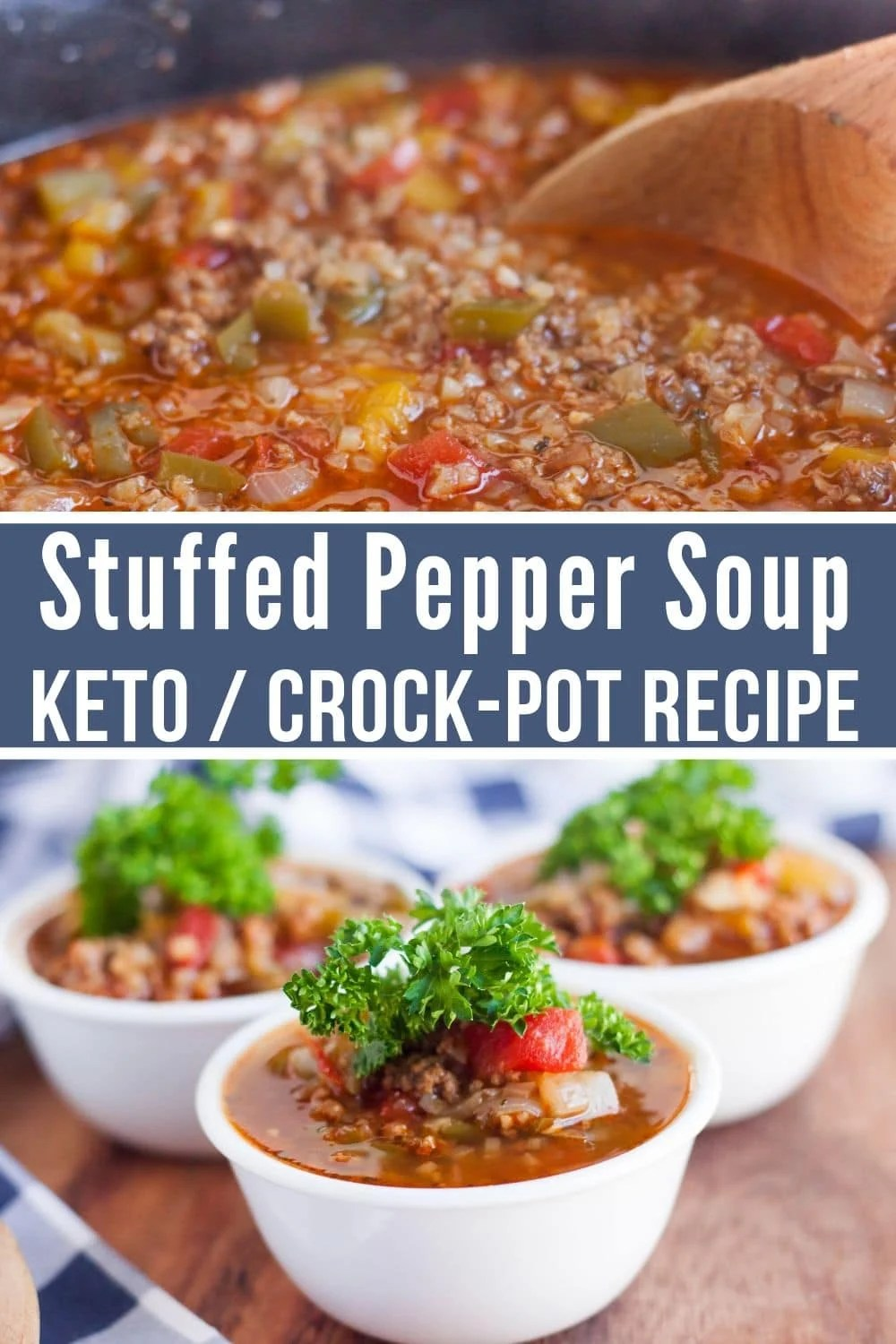Collage of stuffed pepper soup. The top picture has the soup being stirred in a pan, and the bottom has 3 bowls in a triangle.