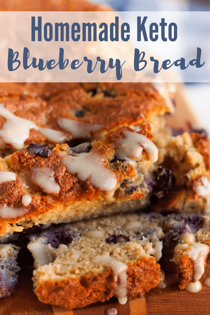 Easy Homemade Keto Blueberry Bread that is easy to make, delicious, and it doesn't taste eggy at all. This is a great keto bread recipe you'll love! #keto #lowcarb