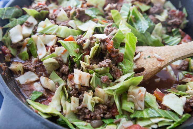 low carb unstuffed cabbage skillet in a