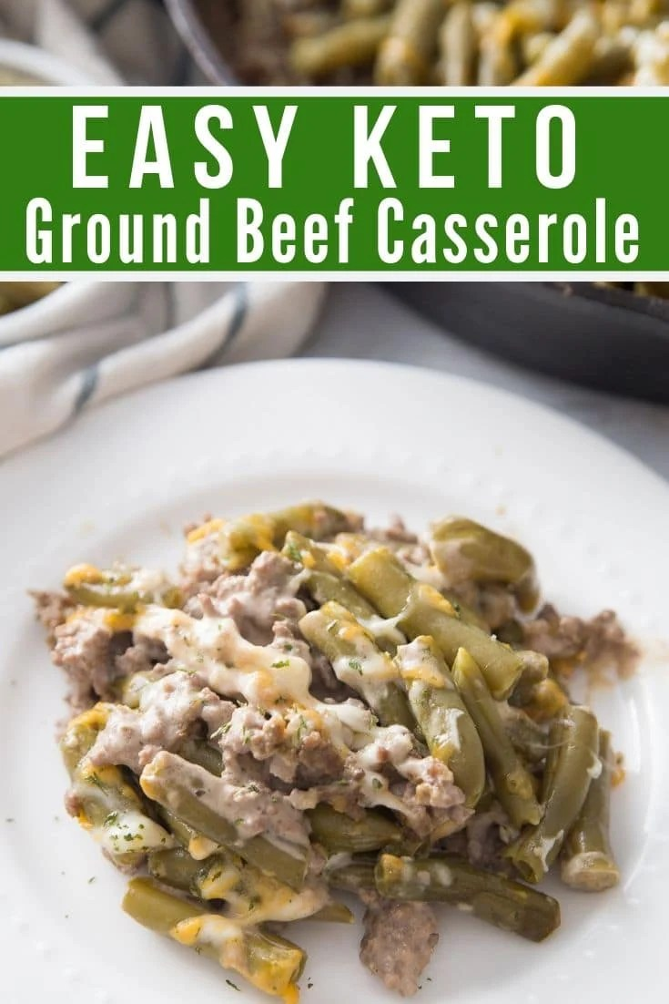 easy low carb ground beef recipe plated with the cast iron skillet in the background