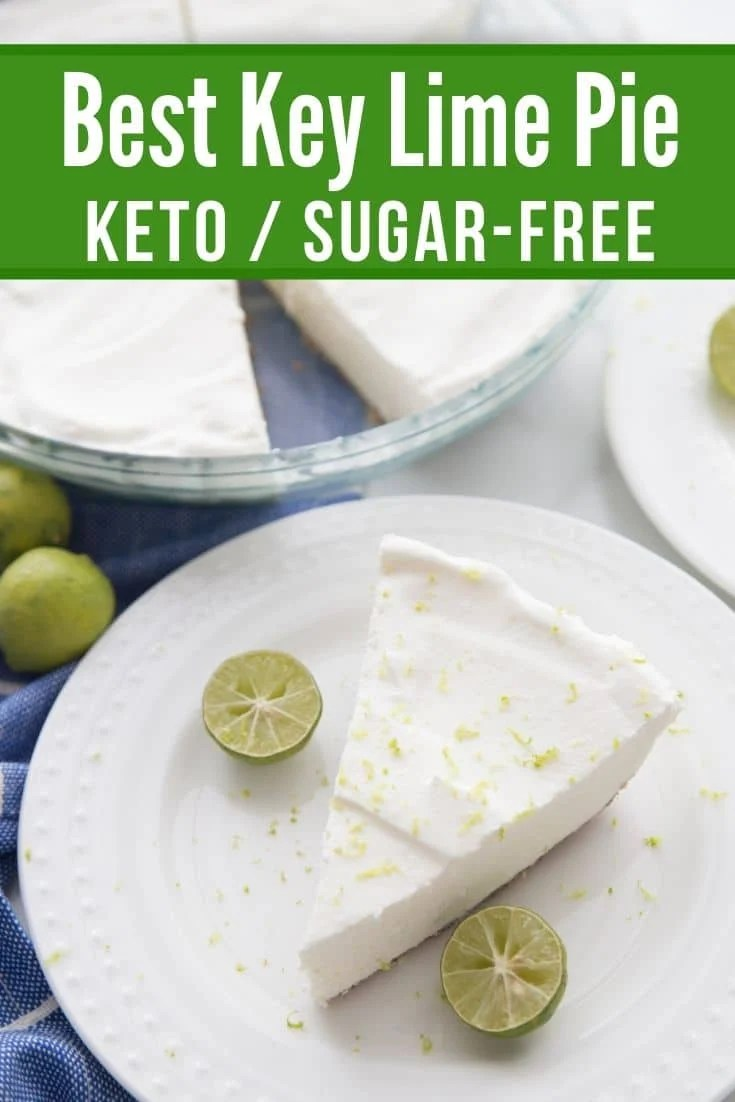keto key lime pie plated with a picture of the pie in a glass pie dish in the background