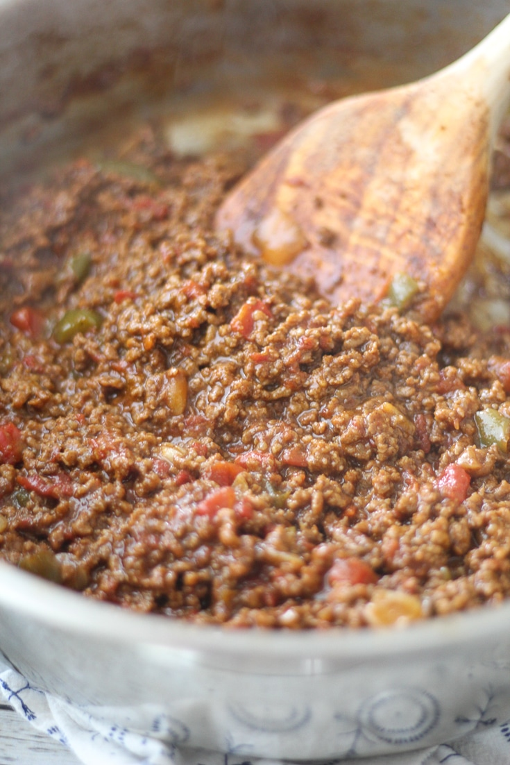 very best taco meat in a skillet