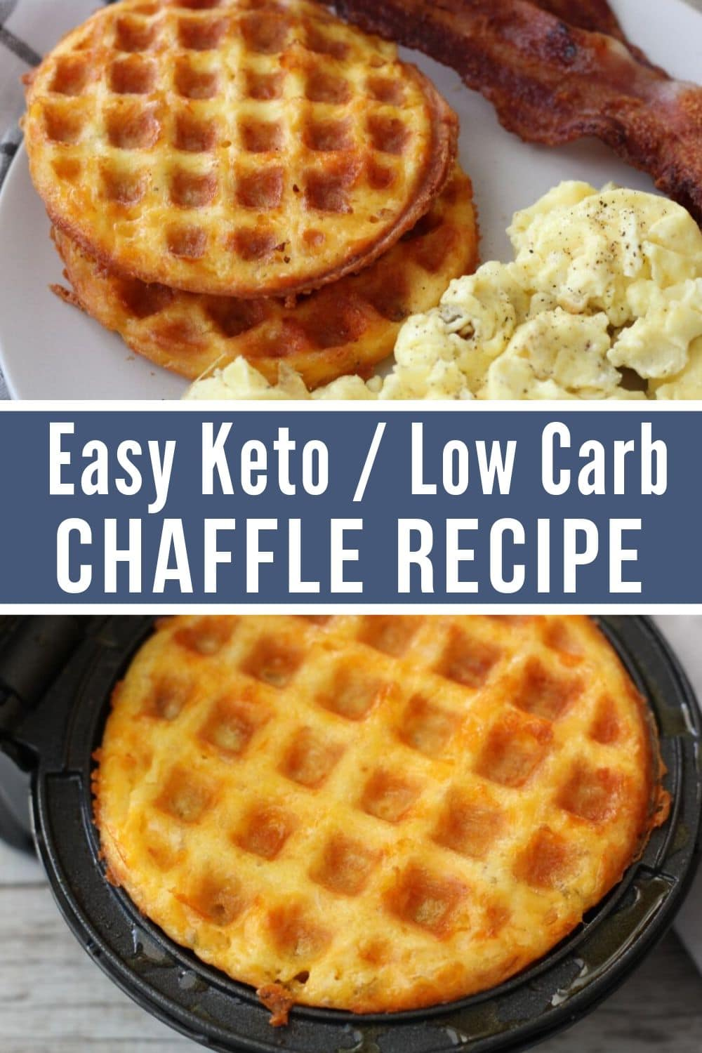 collage of keto chaffle recipe one chaffle plated the other in the waffle maker