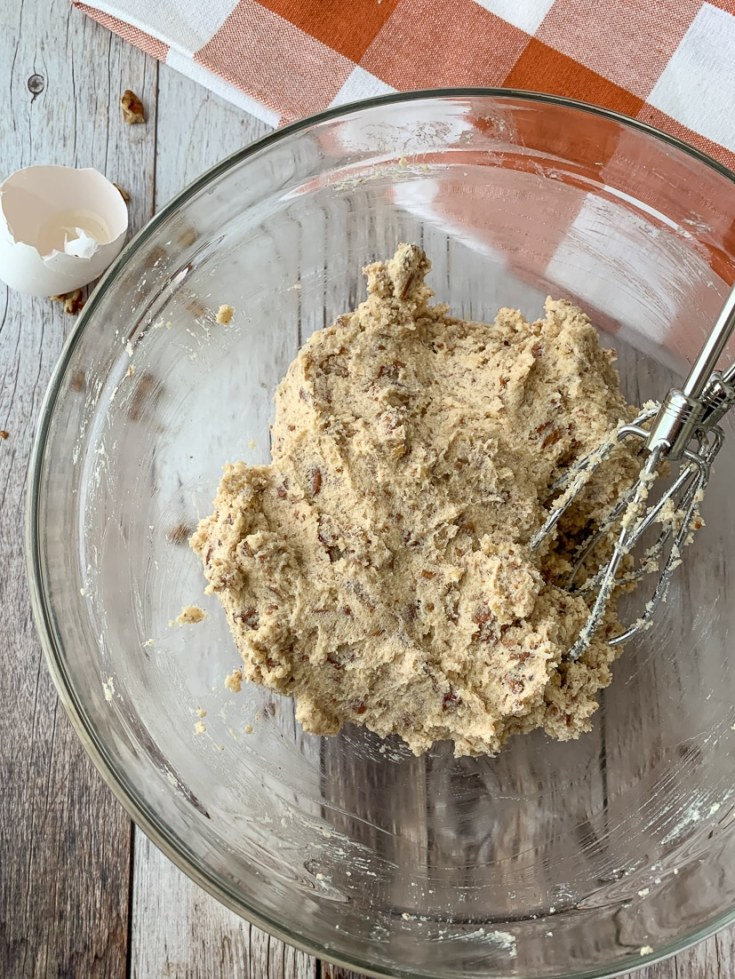 process picture of batter in a bowl for keto pecan pie muffins