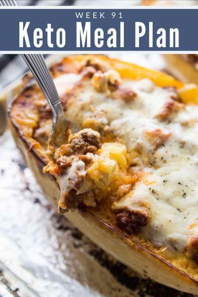 Keto Spaghetti Squash Lasagna with a fork