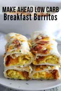 breakfast burritos stacked on top of one another with eggs, cheese and bacon