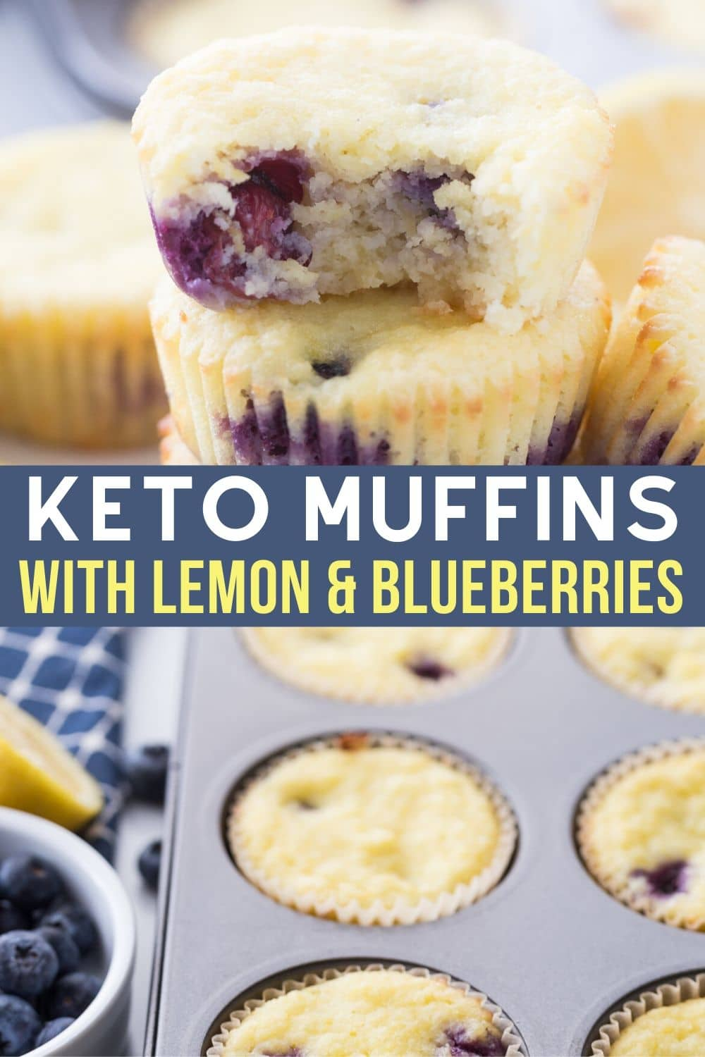 blueberry lemon keto muffins in a muffin tin