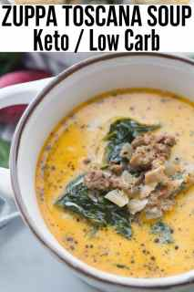 A picture of Keto Zuppa Toscana Soup in a white bowl