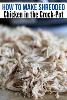 shredded chicken on cutting board