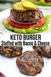 easy keto bacon cheeseburger on lettuce
