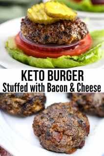easy keto bacon cheeseburger on lettuce