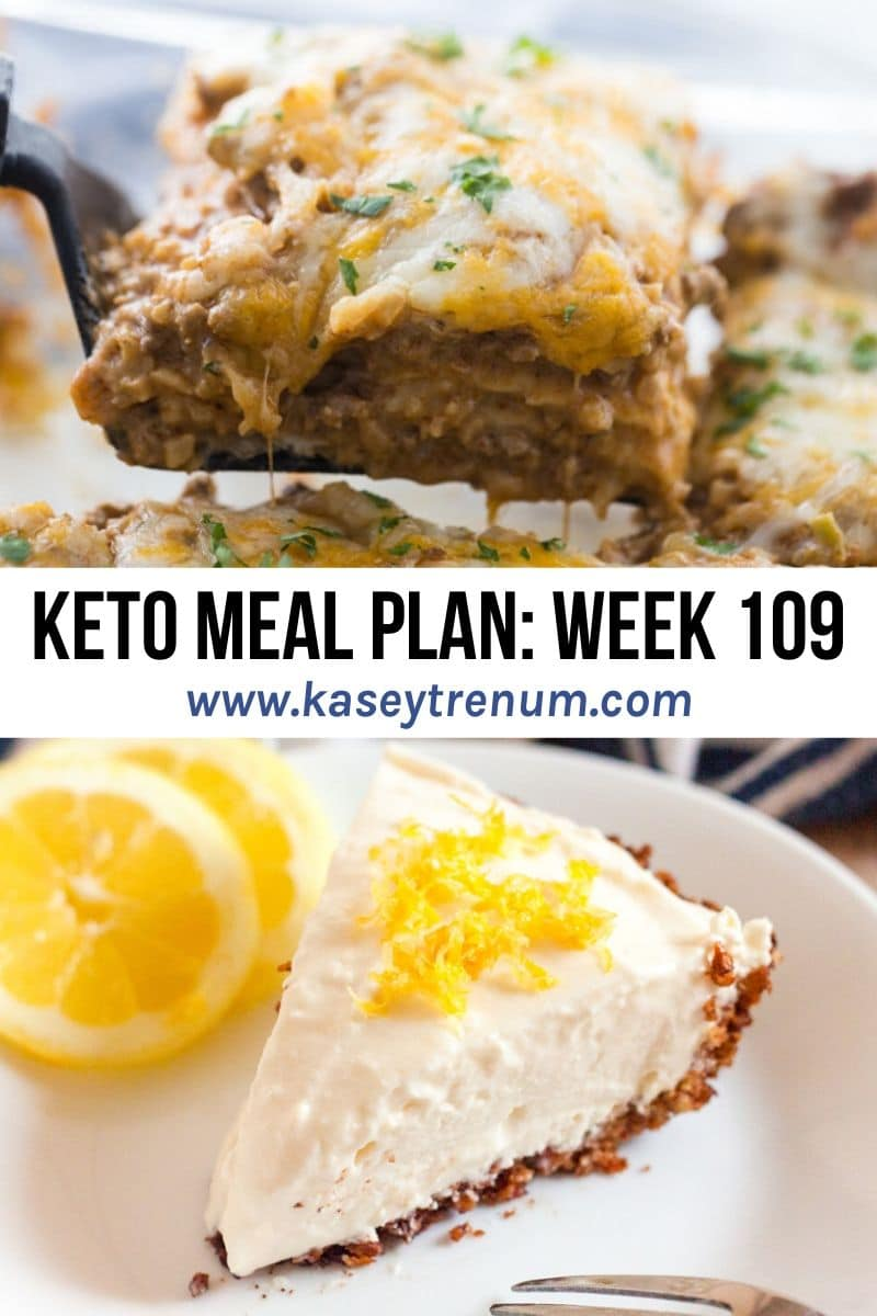 graphic of a collage of two meals for keto meal plan