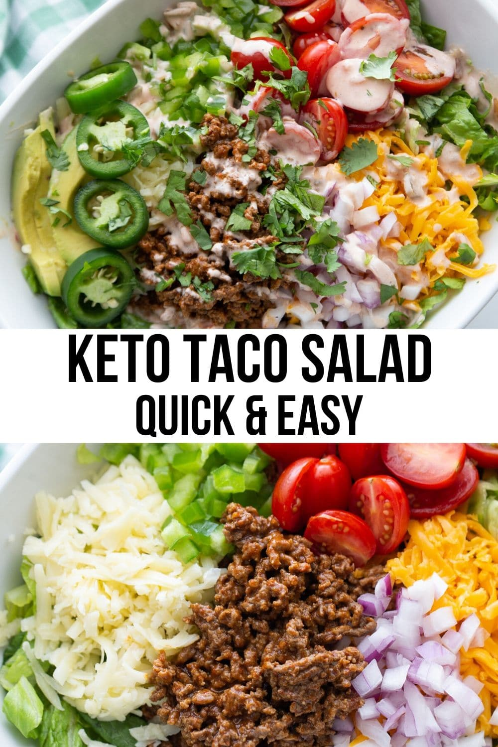 healthy gluten free taco salad with ground beef, cheese, dressing and avocados in a white bowl