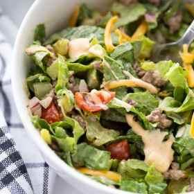 keto Big Mac salad in a bowl