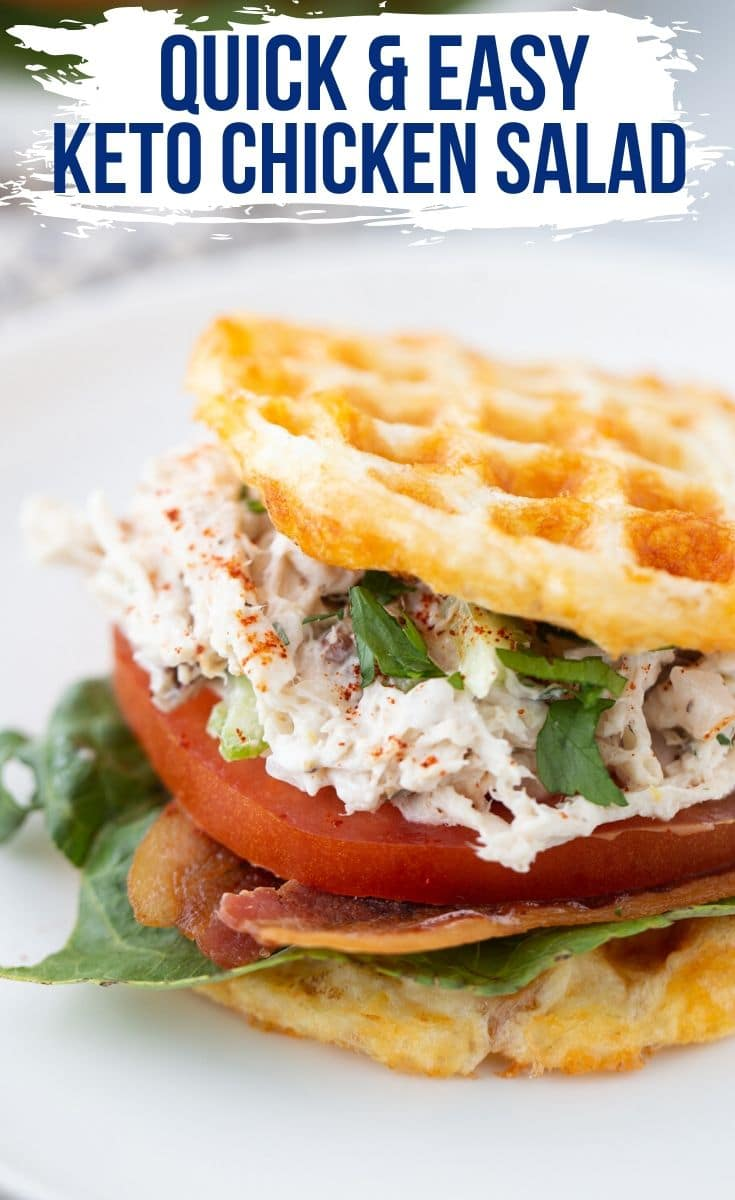 keto chicken salad served on a chaffle with lettice and tomato