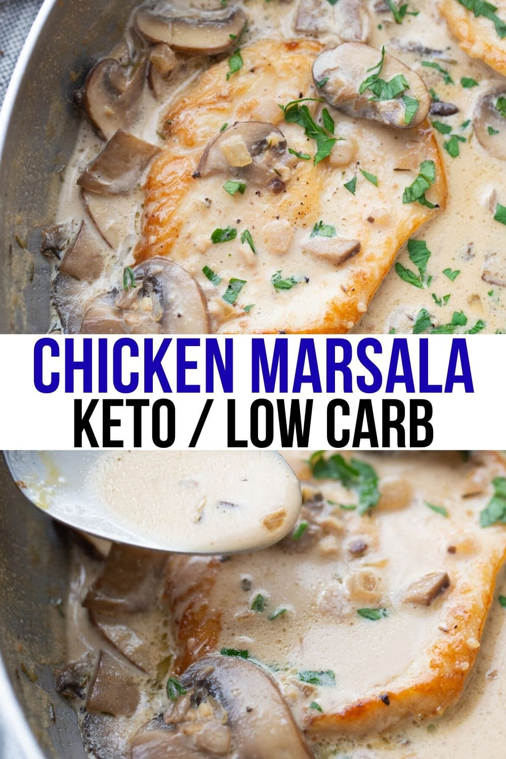 keto chicken marsala in a skillet with cream sauce over top