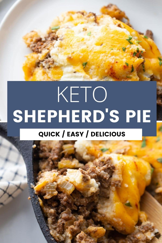 "split image of shepherds pie with text overlay ""keto shepherd's pie"""