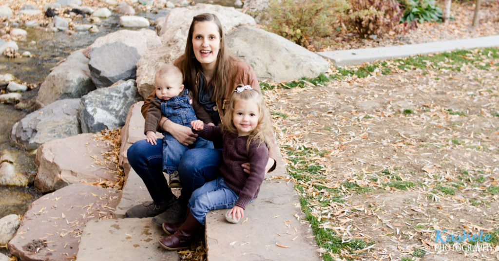 2019 Fall Family Session Mom, Big sister, and little brother on the steps