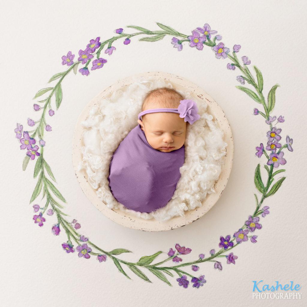 Baby in purple watercolor setup