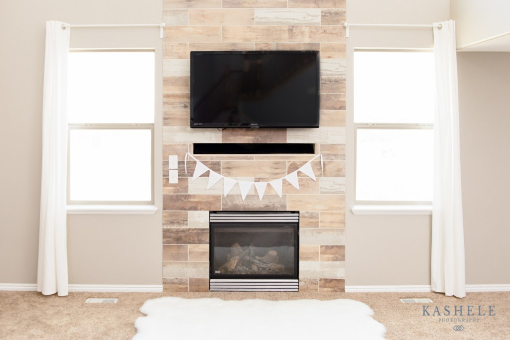 Image of white bunting banner hanging over a mantle