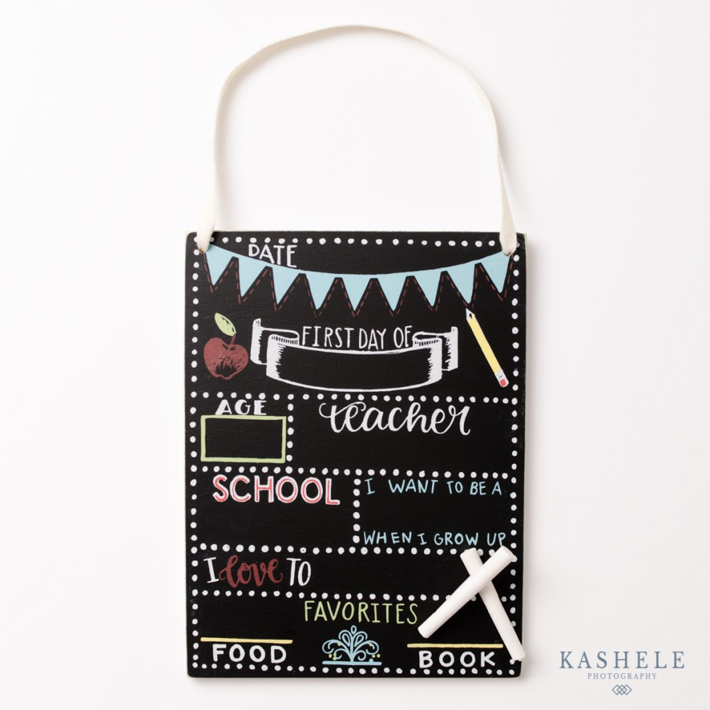 blank back to school chalkboard sign with chalk