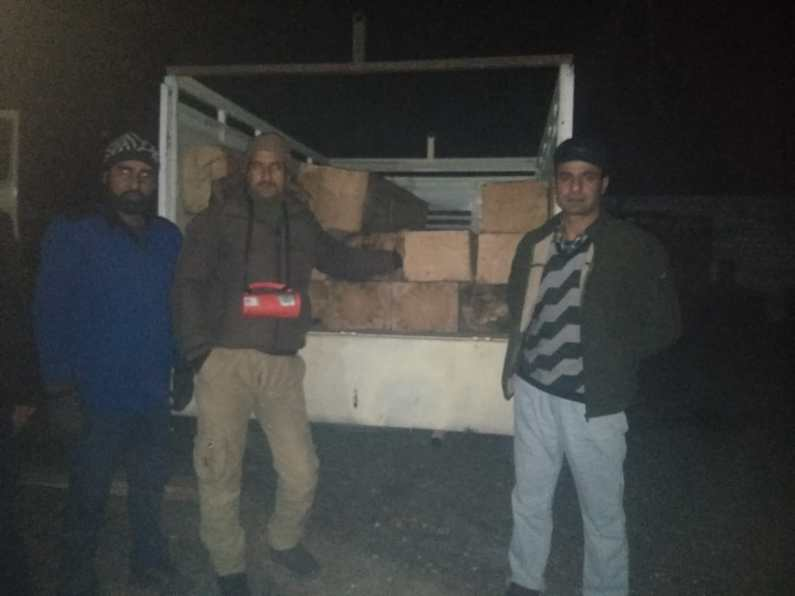 Illicit timber seized in Rafiabad, driver associates escapes